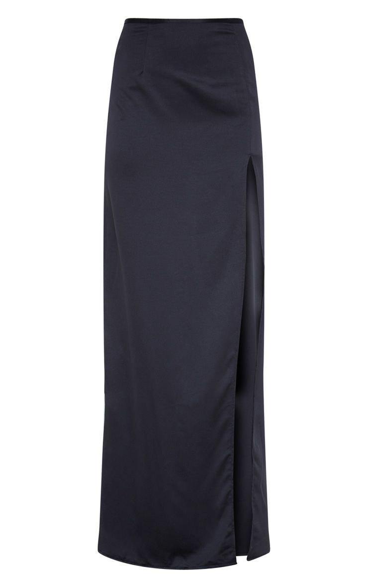 Black Satin Maxi Skirt | Skirts | PrettyLittleThing USA