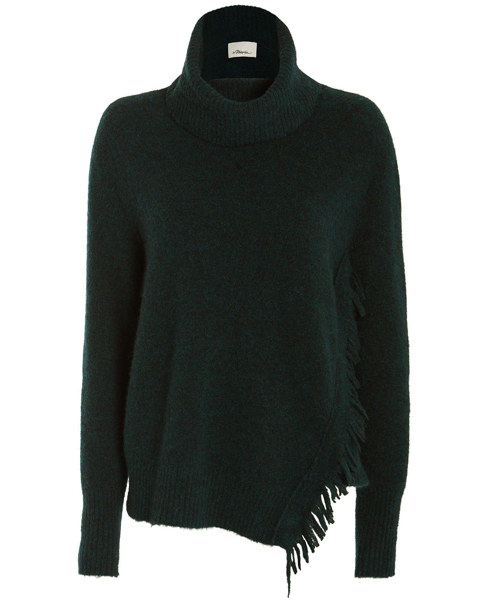 Fringe Overlap Turtleneck Sweater