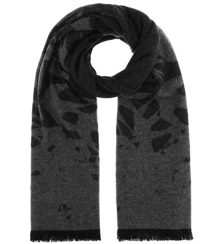 Swallow jacquard wool-blend scarf