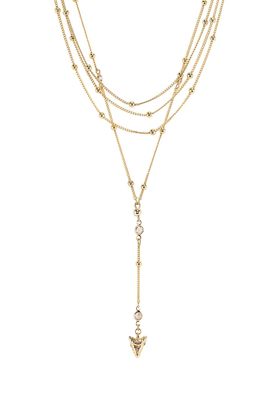 Layered Shark Tooth Lariat Necklace