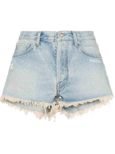 Off-White raw hem front logo denim shorts $330 - Buy SS19 Online - Fast Global Delivery, Price