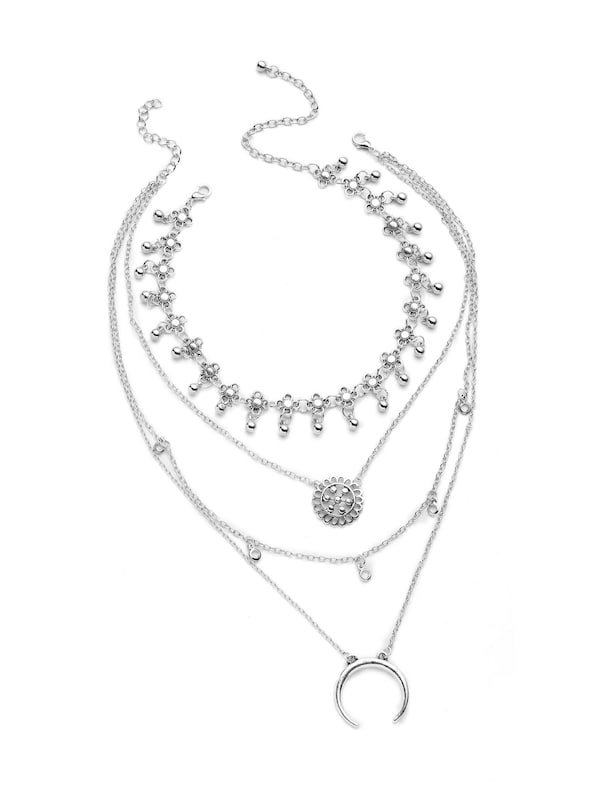 Metal Flower And Moon Design Layered Necklace -SheIn(Sheinside)