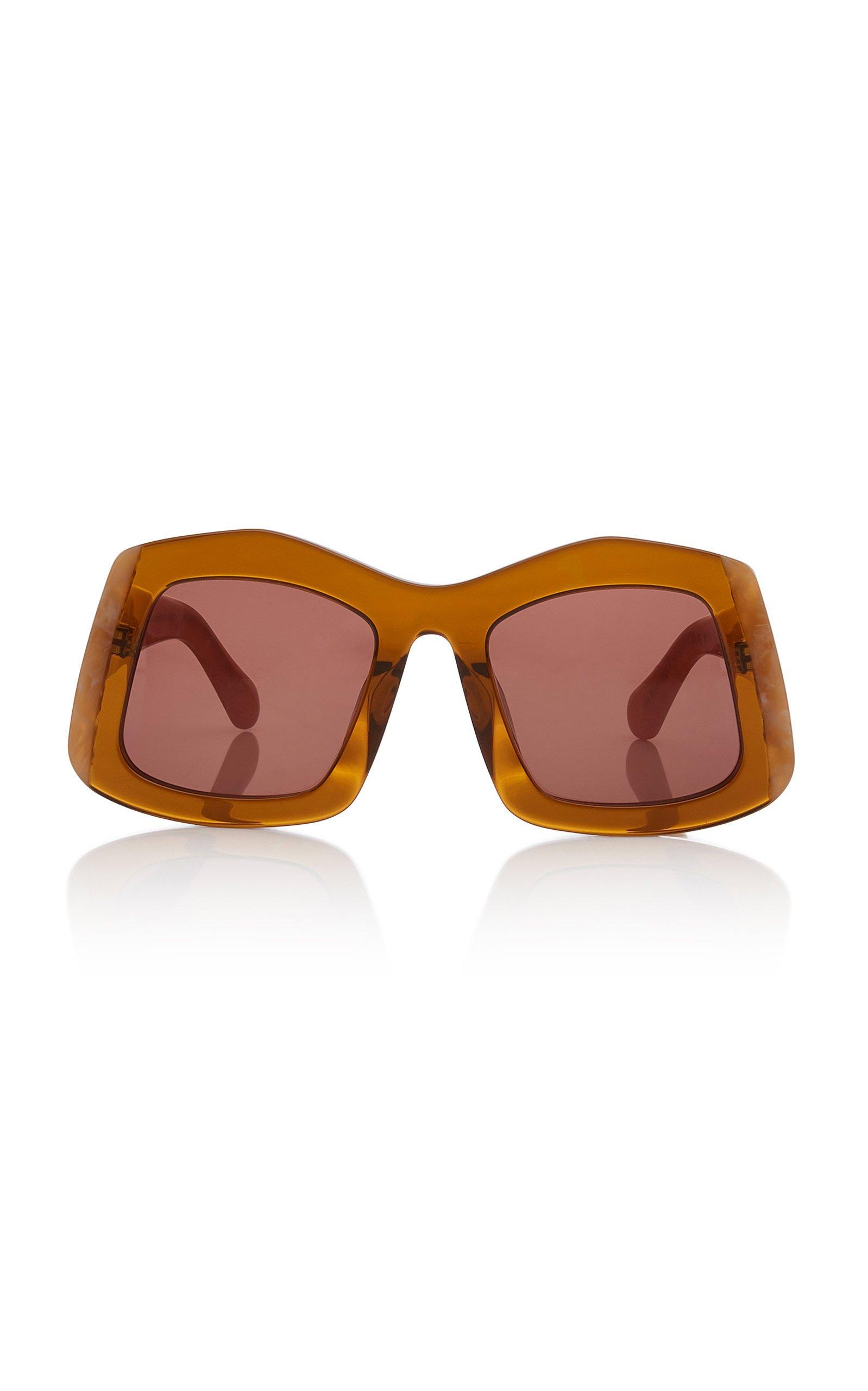 Karen Walker Wyndham Oversized Round-Frame Marble Sunglasses