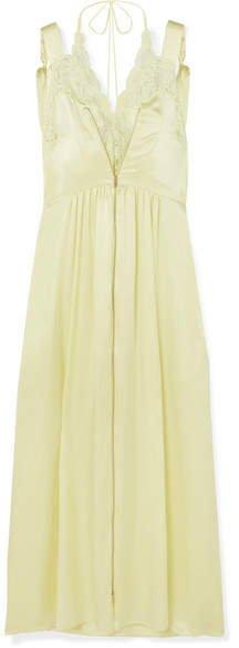Lace-trimmed Silk-satin Midi Dress - Chartreuse