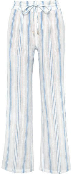 Krissy Striped Cotton-gauze Pants - Blue