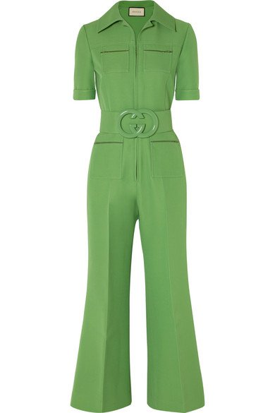 Gucci | Belted wool and silk-blend cady jumpsuit | NET-A-PORTER.COM