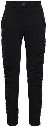 Ruched Cotton-blend Twill Slim-leg Pants