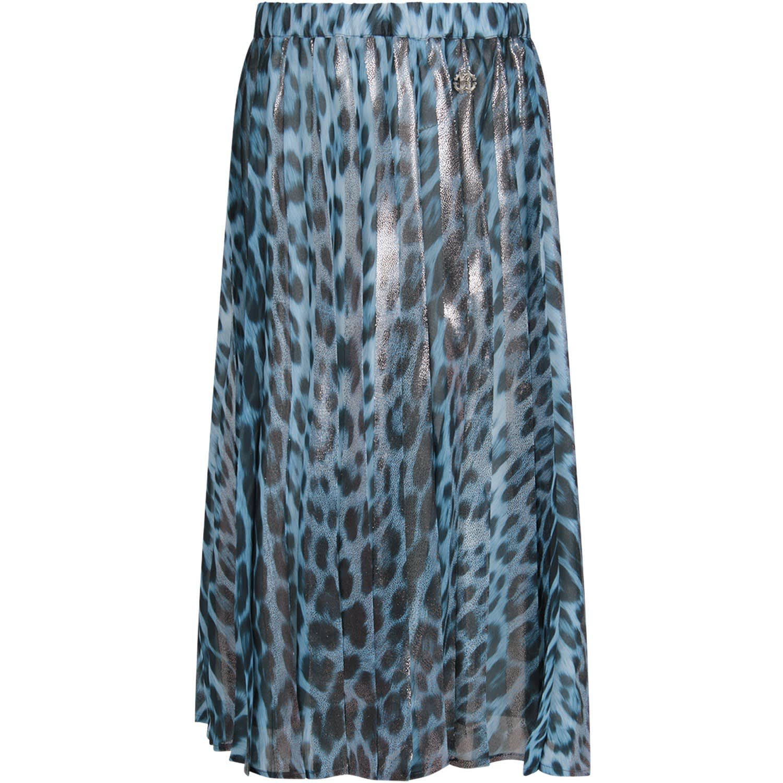 Roberto Cavalli Light Blue Girl Skirt With Metallic Logo
