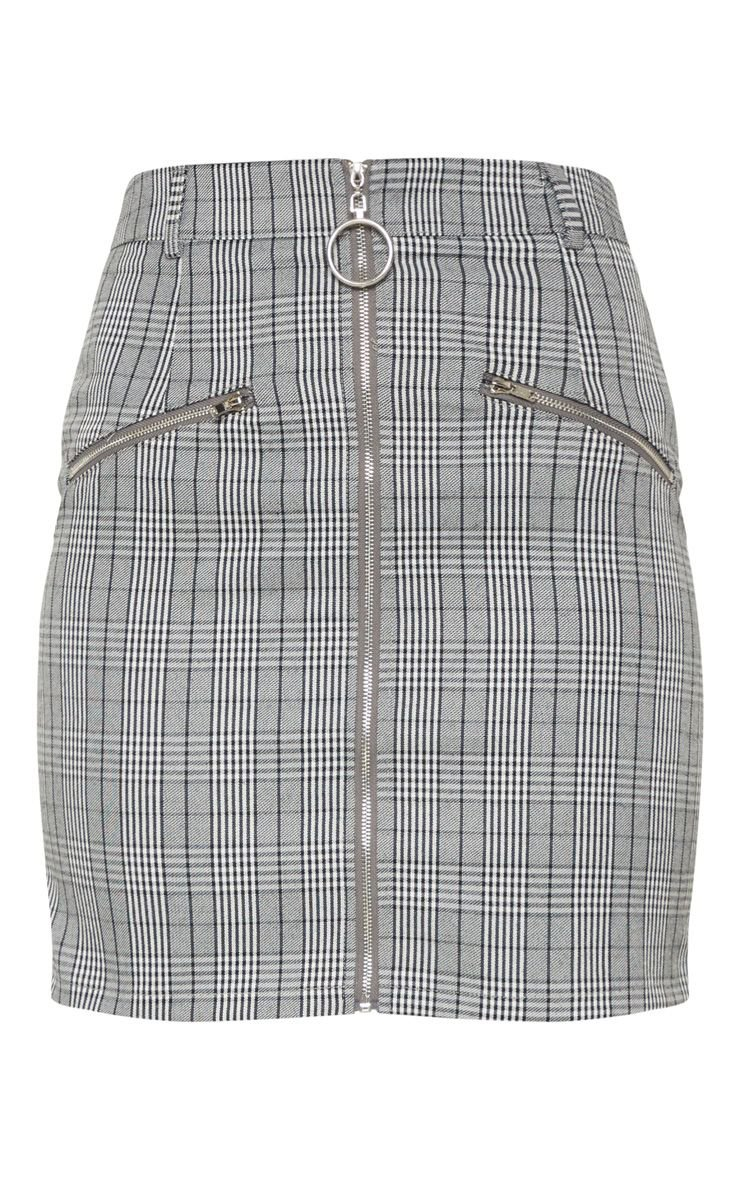 Monochrome Zip Front Check Mini Skirt | PrettyLittleThing