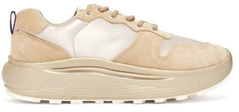 Jet Combo Exaggerated Sole Suede Trainers - Womens - Beige