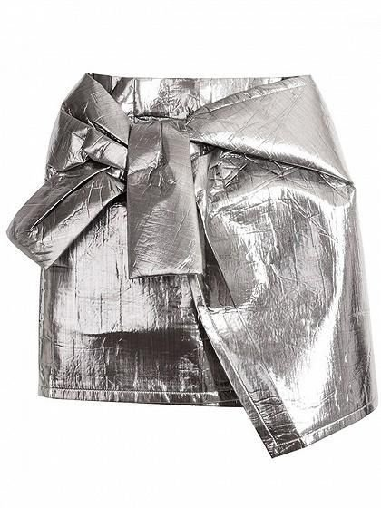 Silver Metallic Asymmetric Hem Mini Skirt