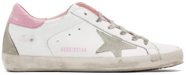 White and Pink Superstar Sneakers