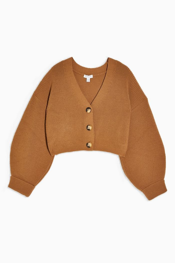 Camel Knitted Cardigan and Trousers Set   Topshop