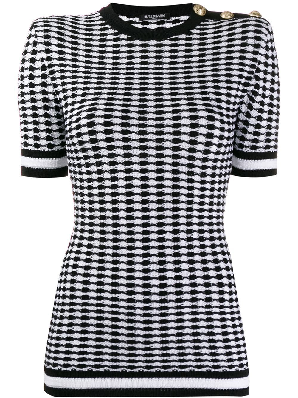 Balmain short sleeved knitted top $1,752 - Shop AW19 Online - Fast Delivery, Price