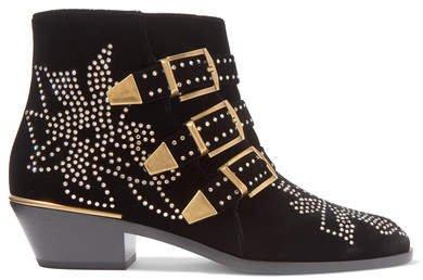 Susanna Crystal-embellished Velvet Ankle Boots - Black