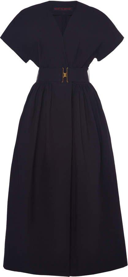 Martin Grant Belted V-Neck Cotton Dress Size: 34