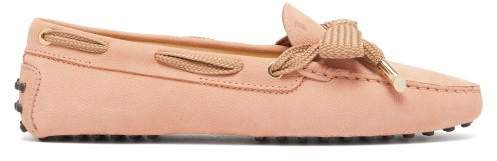 Gommini Bow Front Suede Loafers - Womens - Pink