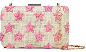Embroidered Woven Straw Clutch