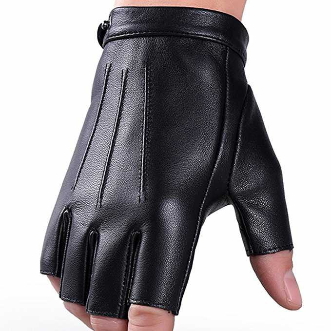 Fingerless Gloves PU Leather Gloves Touchscreen Texting Dress Driving Moto Glove for Men Women Teens (M) at Amazon Men's Clothing store: