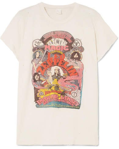 MadeWorn - Led Zeppelin Distressed Printed Cotton-jersey T-shirt - White