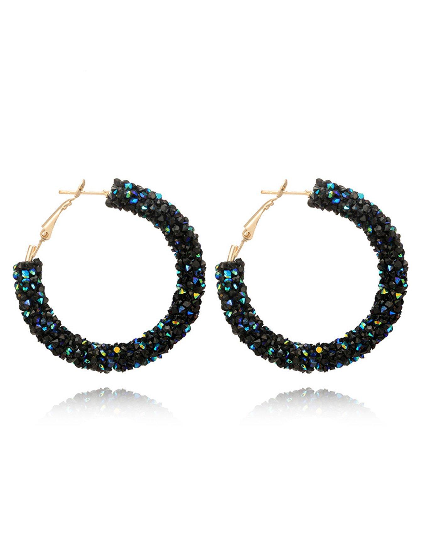 Glitter Stone Hoop Earrings