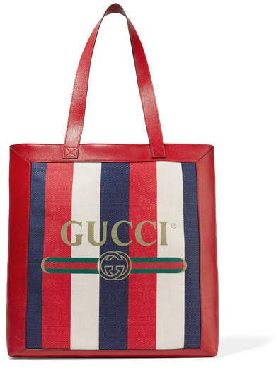 Leather-trimmed Striped Canvas Tote - Red
