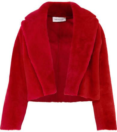 16ARLINGTON - Cropped Shearling Jacket - Red