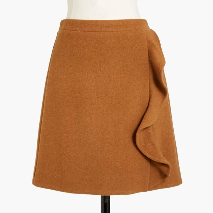 Ruffle-front mini skirt in double-serge wool