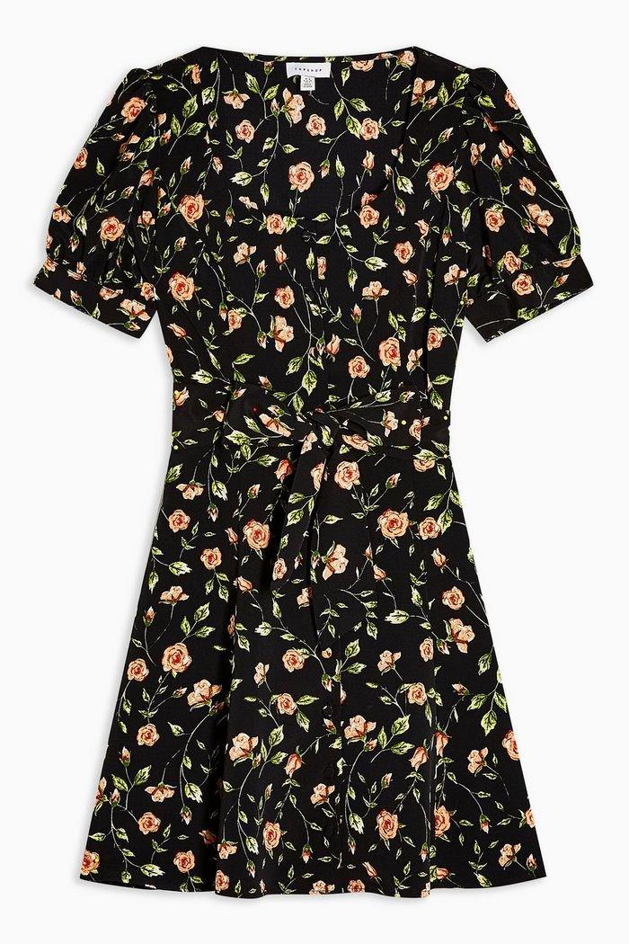 Floral Button Mini Dress | Topshop black