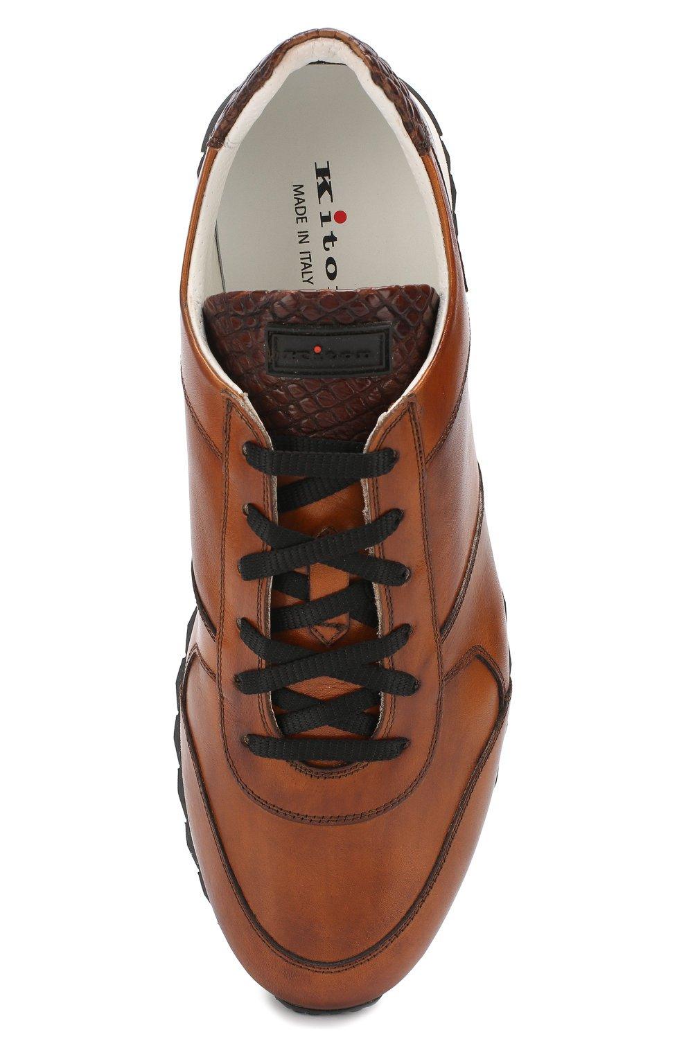 Мужские светло-коричневые кожаные кроссовки с отделкой из кожи крокодила KITON — купить за 75900 руб. в интернет-магазине ЦУМ, арт. USSB0RIN00038