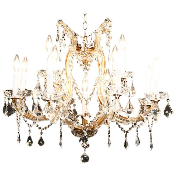 13 Candle Crystal Chandelier Austrian Design : Harp Gallery Antique Furniture | Ruby Lane
