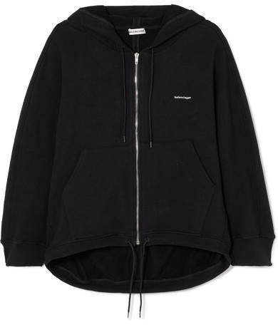 Cocoon Printed Stretch Cotton-blend Jersey Hoodie - Black