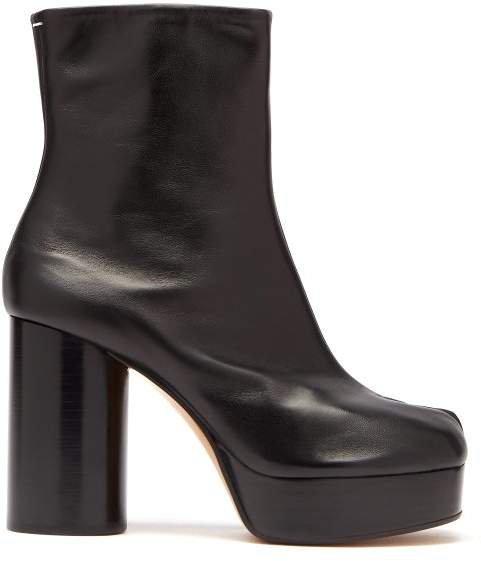 Tabi Split Toe Leather Platform Boots - Womens - Black