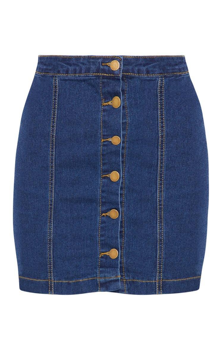 Cammie Blue Denim Mini Skirt   Mini Skirts   PrettyLittleThing