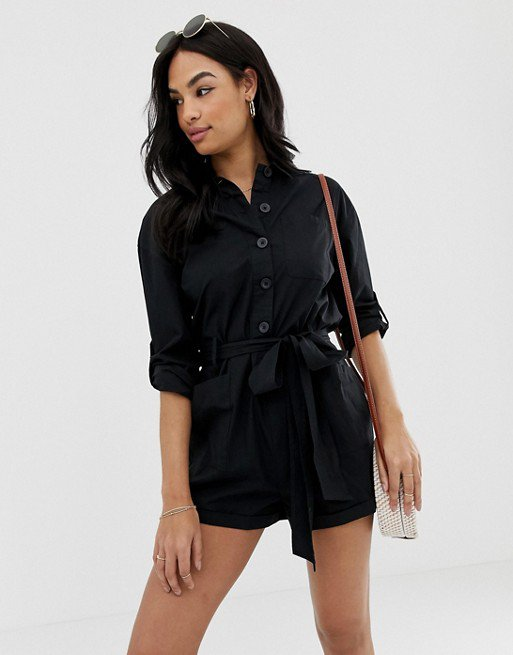 ASOS DESIGN boiler romper with waist detail | ASOS