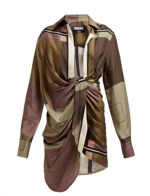 Bahai Knot Front Silk Mini Dress - Womens - Green Multi