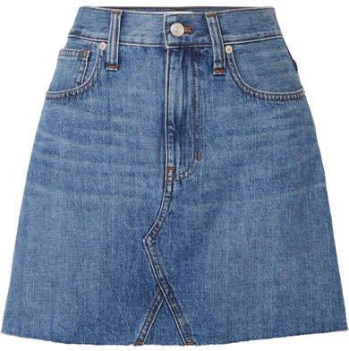 Frisco Distressed Denim Mini Skirt - Mid denim