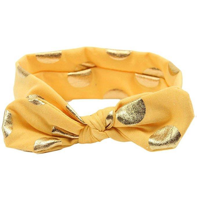 Amazon.com: Baby Girls Gold Dots Bronzing Headband Cotton Turban Knotted Hair Bow Hairband JA60 (11# Yellow): Clothing