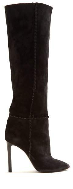 Mica Whipstitched Knee High Suede Boots - Womens - Black