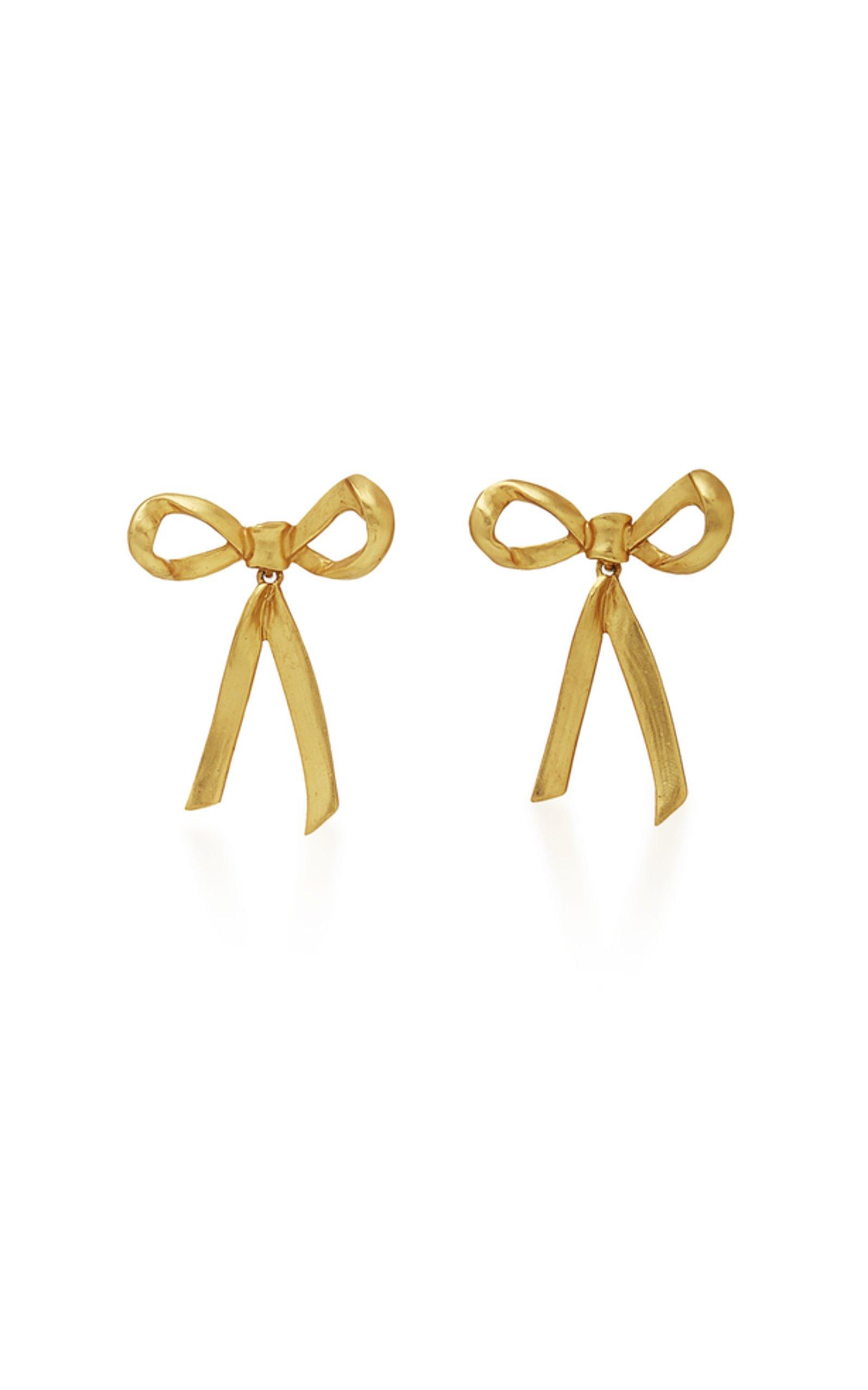 Metal Bow Earrings by Oscar de la Renta | Moda Operandi