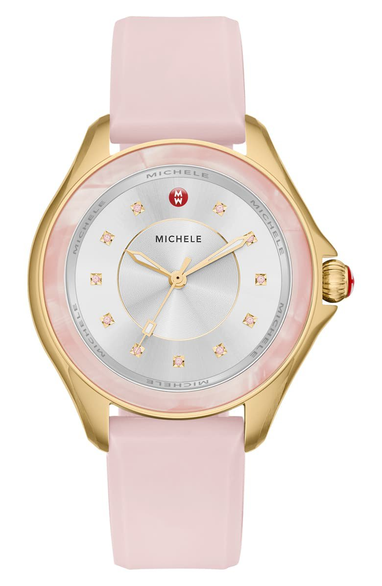 MICHELE Cape Topaz Dial Silicone Strap Watch, 38mm Pink