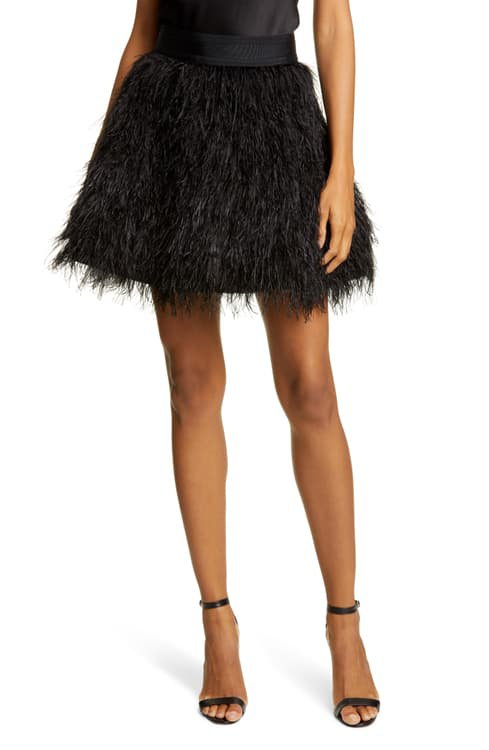 Alice + Olivia Cina Ostrich Feather Skirt | Nordstrom