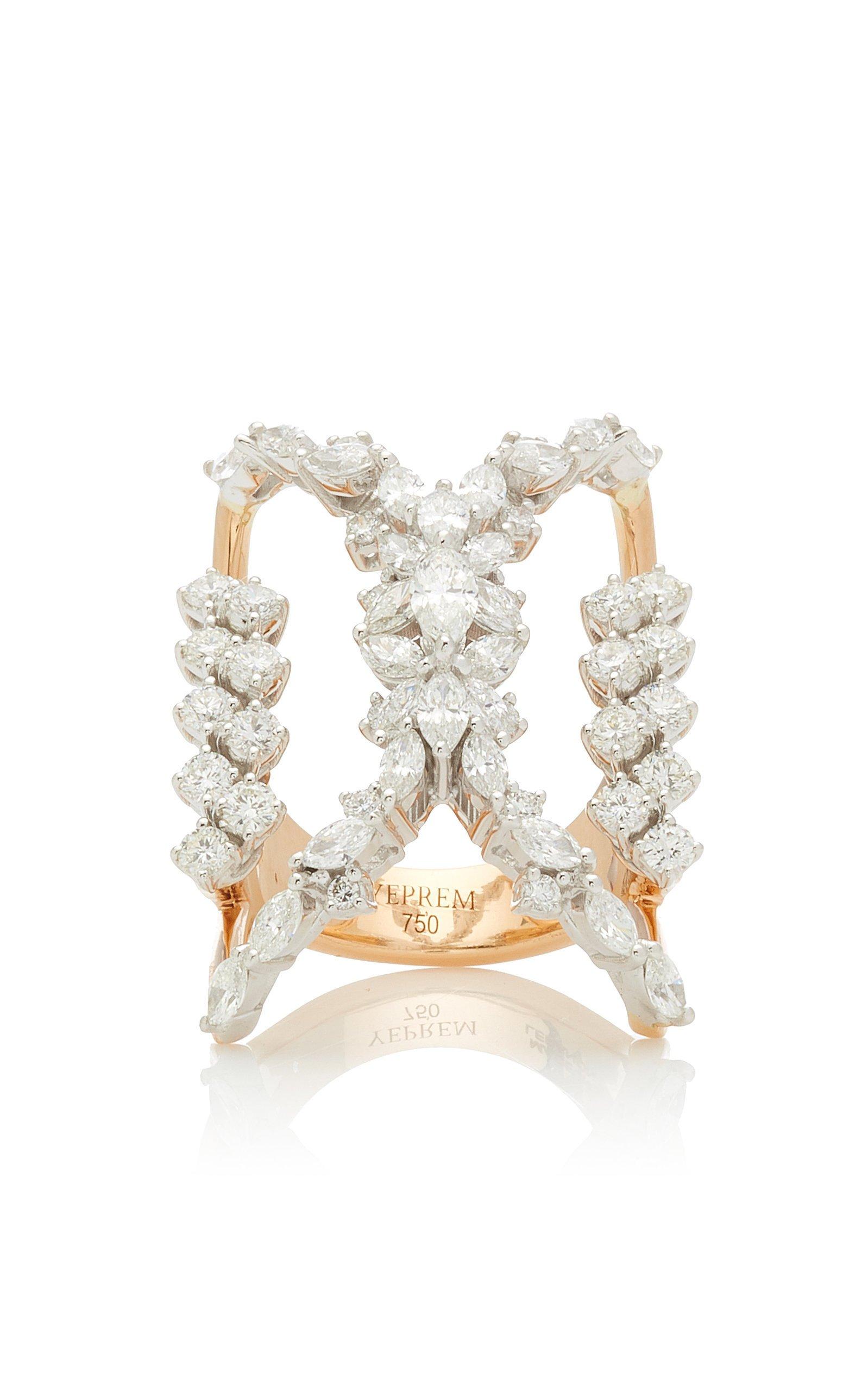 Yeprem 18K Rose & 18K White Gold Y-Not Ring Size: 7.75