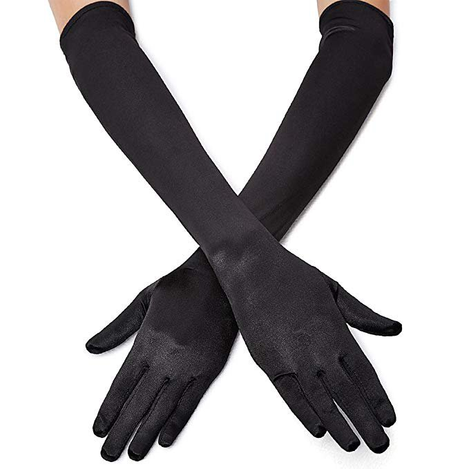 "1920s Opera Satin Long Gloves 19.5"" Elbow Length, 12BL at Amazon Women's Clothing store:"
