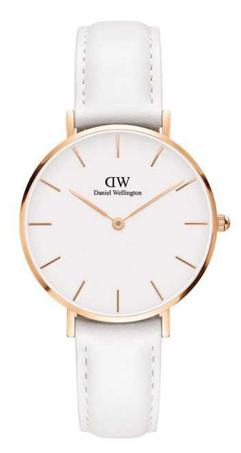 White Leather Band Watch {DW}