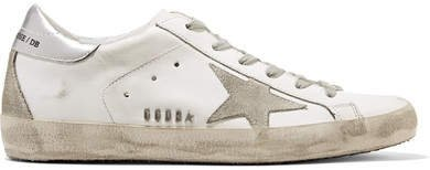 Superstar Distressed Metallic Leather And Suede Sneakers - White