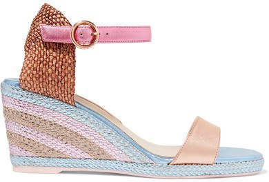 Lucita Metallic Satin Espadrille Wedge Sandals