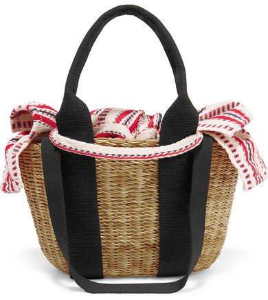 Caba Mini Straw And Striped Cotton-canvas Tote - Black