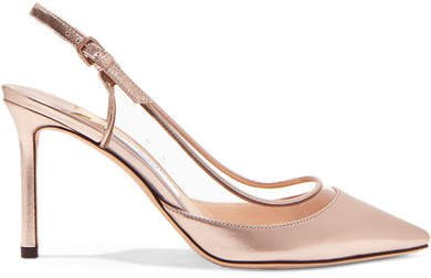 Erin 85 Pvc And Metallic Leather Slingback Pumps