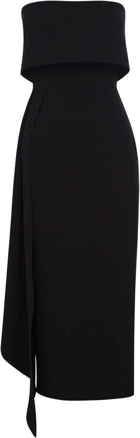 Alexander Kick-Pleat Crepe Midi Dress